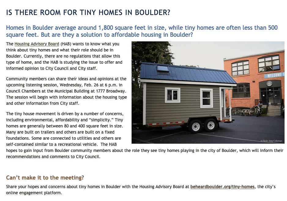 Tiny Homes Boulder